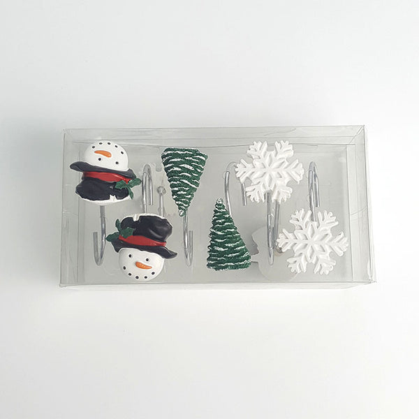 Holiday Snowman Snowflakes Tree Christmas Shower Curtain Rings Hooks packge
