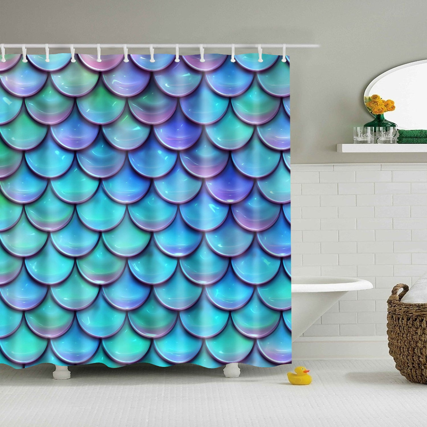 Holographic Mermaid Scales Shower Curtain