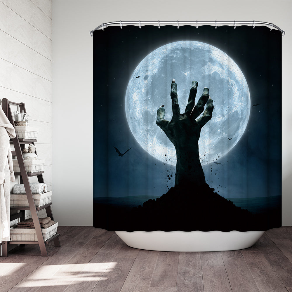 Horror Zombie Hand Rush Out Earth Twilight Moon Halloween Shower Curtain