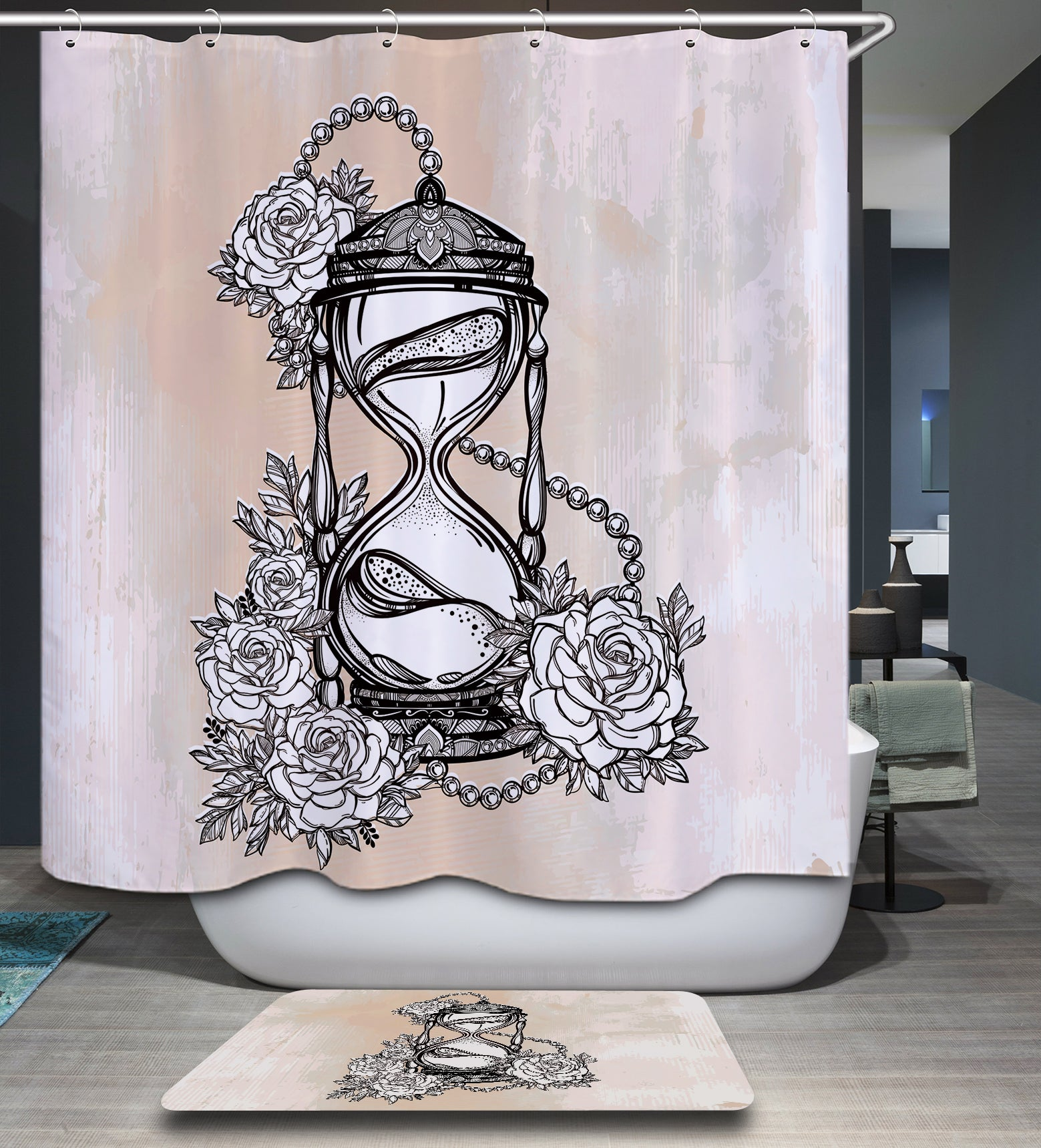 Hourglass and Roses Drawing Shower Curtain