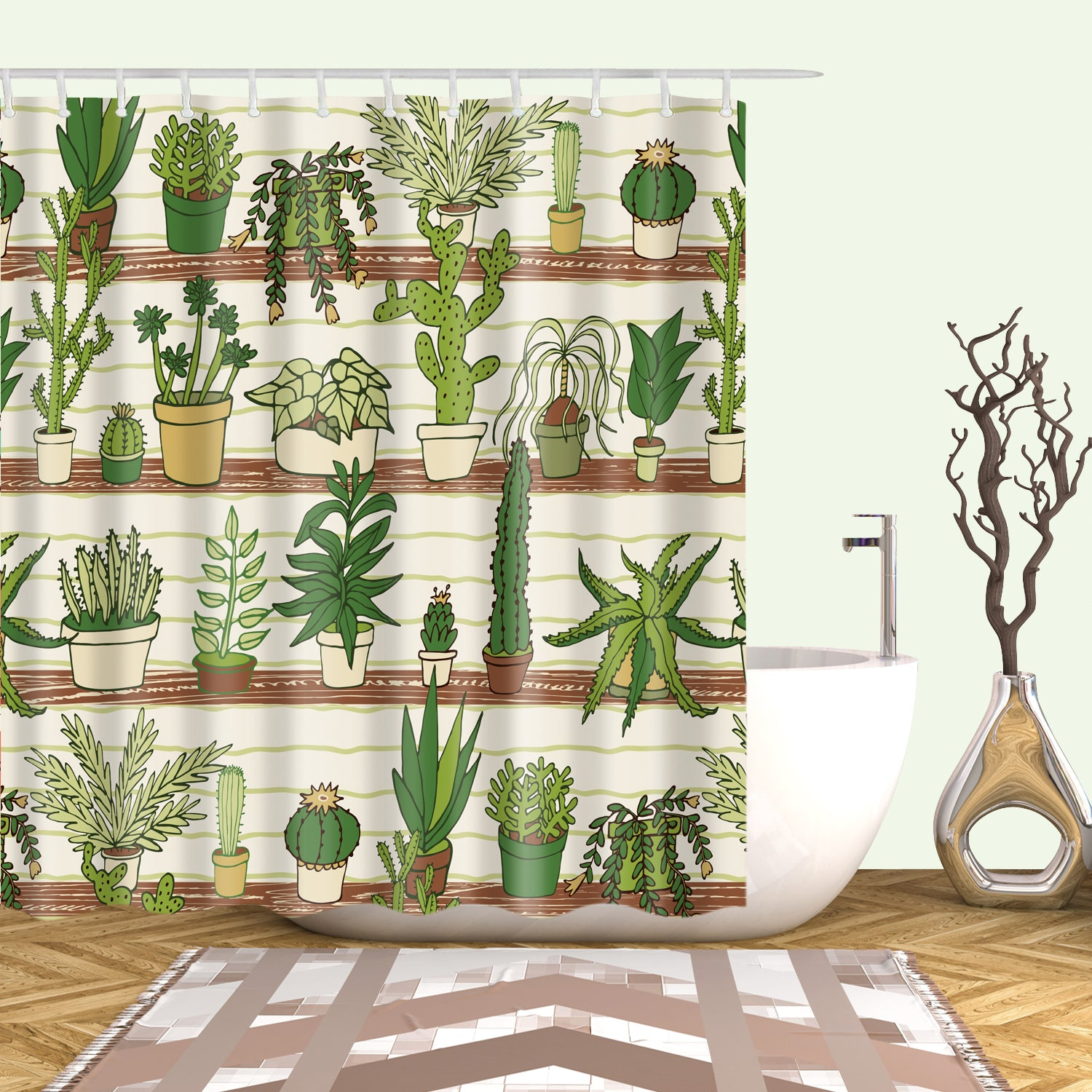 Houseplant Display Cactus Green Plant Shower Curtain
