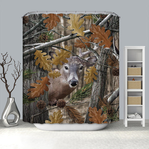 Hunt Season Elk Deer Camo Tree Shower Curtain