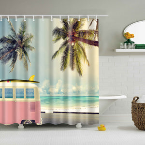 Ice Cream Cart Palm Tree Beach Shower Curtain