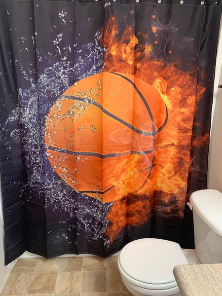 Ice and Fire Basketball Shower Curtain Bathroom Decor