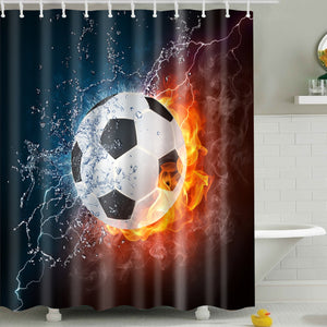 Ice and Fire Football Sports Soccer Shower Curtain
