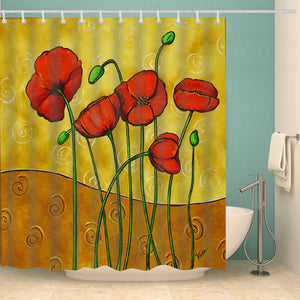 Impressionist Flower Red Poppy Art Shower Curtain