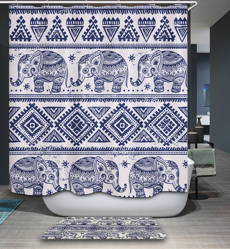 Indian Hipster Ethnic Elephant Shower Curtain