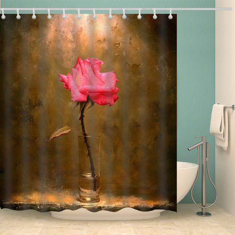 Indoor Pink Rose in Bottle Shower Curtain
