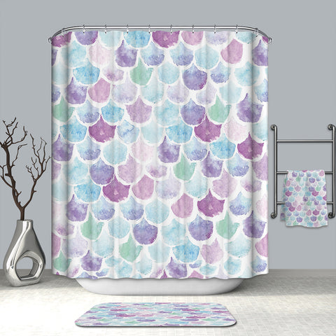 Iridescent Mermaid Pastel Scales Shower Curtain