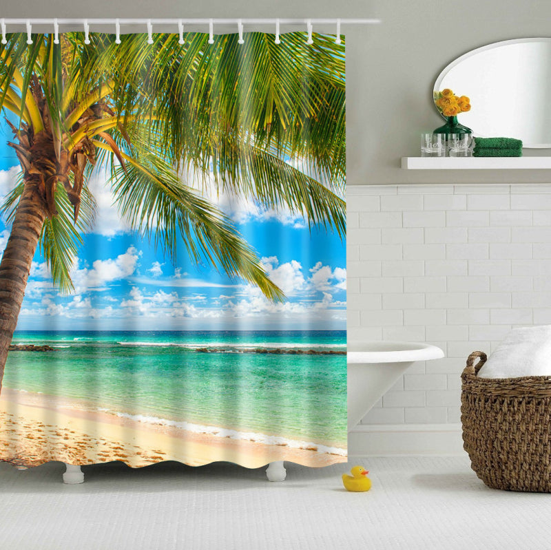 Island Palm Tree Coastal Shower Curtain | GoJeek