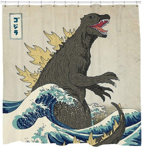 Japanese Godzilla with The Great Wave Off Kanagawa Art Shower Curtain