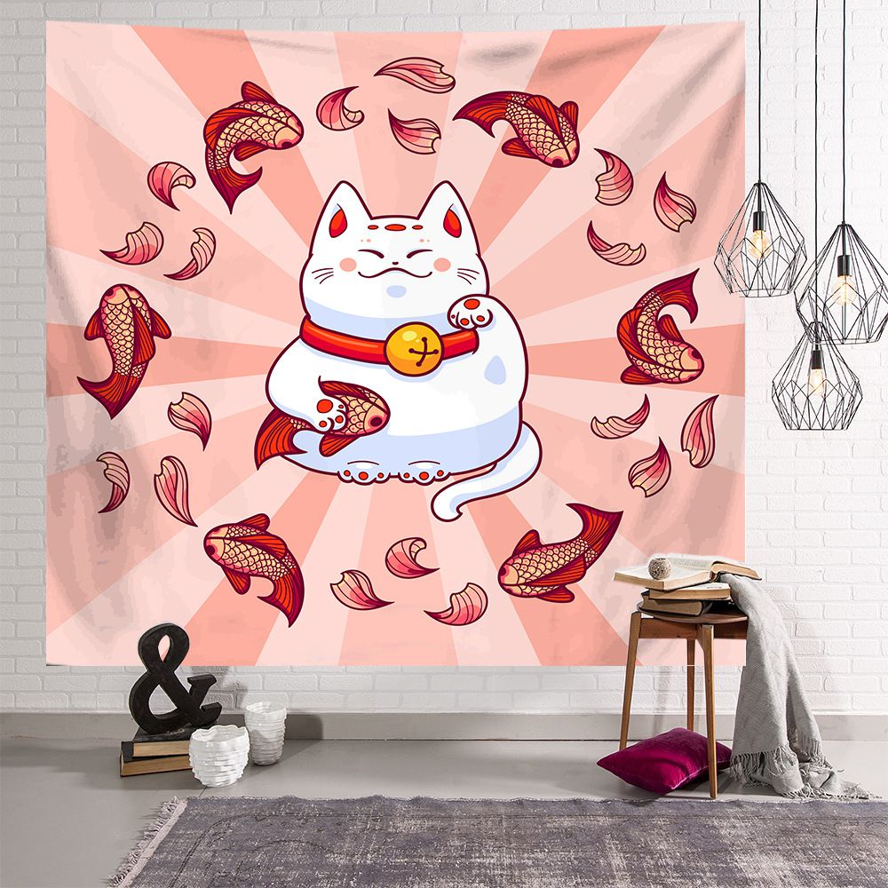 Japanese Lucky Cat with Koi Fish Tapestry