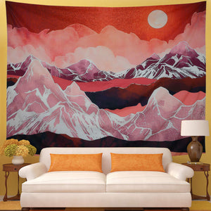 Japanese Art Scarlet Glow Sun Mountaion Landscape Tapestry