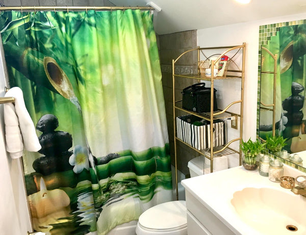 Japanese Bamboo Shower Curtain Jasmine Bath Decor
