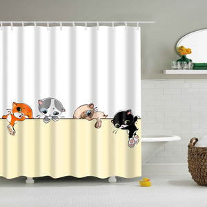 Japanese Cartoon Cute kitten Climbing Shower Curtain