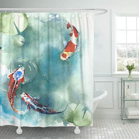 Japanese Lotus Leaf with Koi Fish Shower Curtain
