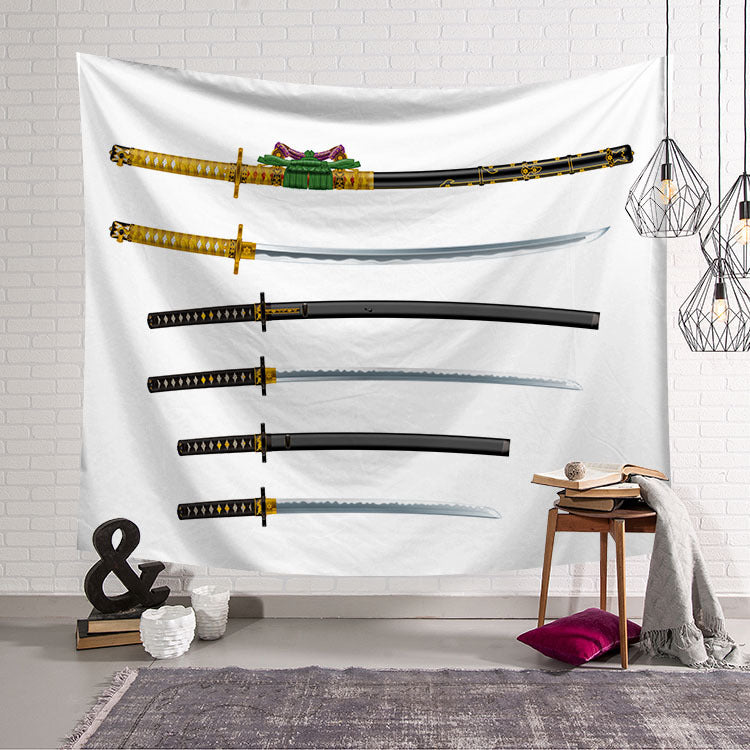 Japanese Samurai Martial Swords Tapestry