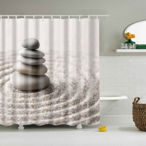 Japanese Zen Garden Meditation Stone Shower Curtain