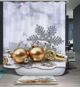Jingle Bell Christmas Ornament Shower Curtain