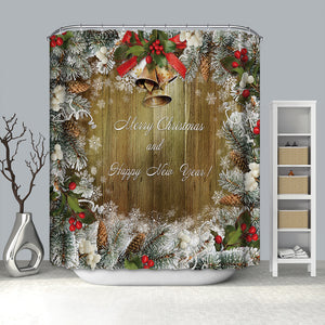 Jingle Bell Christmas Ornaments Shower Curtain