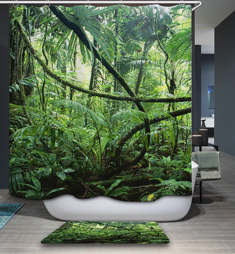 Jungle Forest Trees Shower Curtain Nature Green Bath