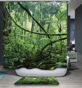 Jungle Forest Trees Shower Curtain Nature Green Bath | GoJeek