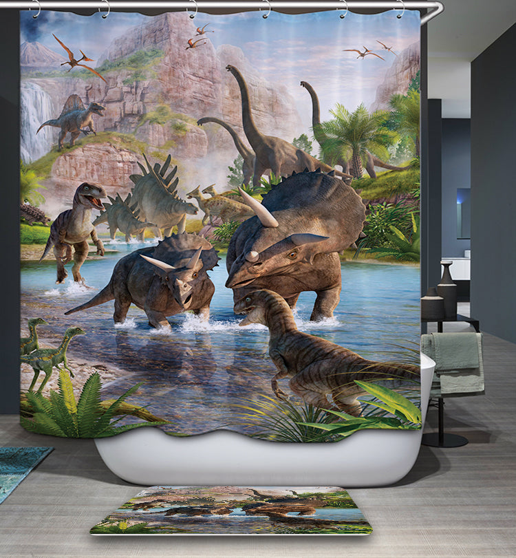 Jurassic Park World Volcanoes Dinosaur Shower Curtain