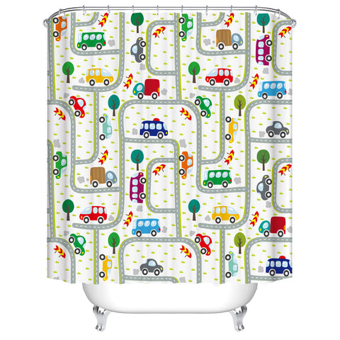 Kids Cute Drawing Roads Traffic Colorful Cartoon Cars Shower Curtain