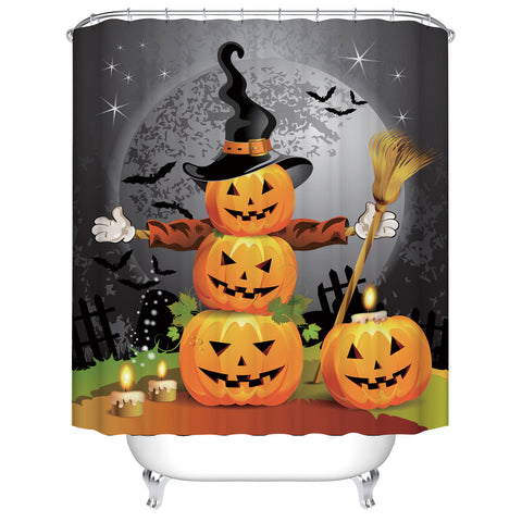Kids Halloween Themed Scarecrow Horror Full Moon Cartoon Pumpkin Shower Curtain