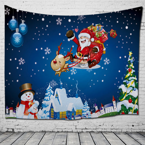 Kids Cartoon Design Santa Coming with Christmas Gift Tapestry