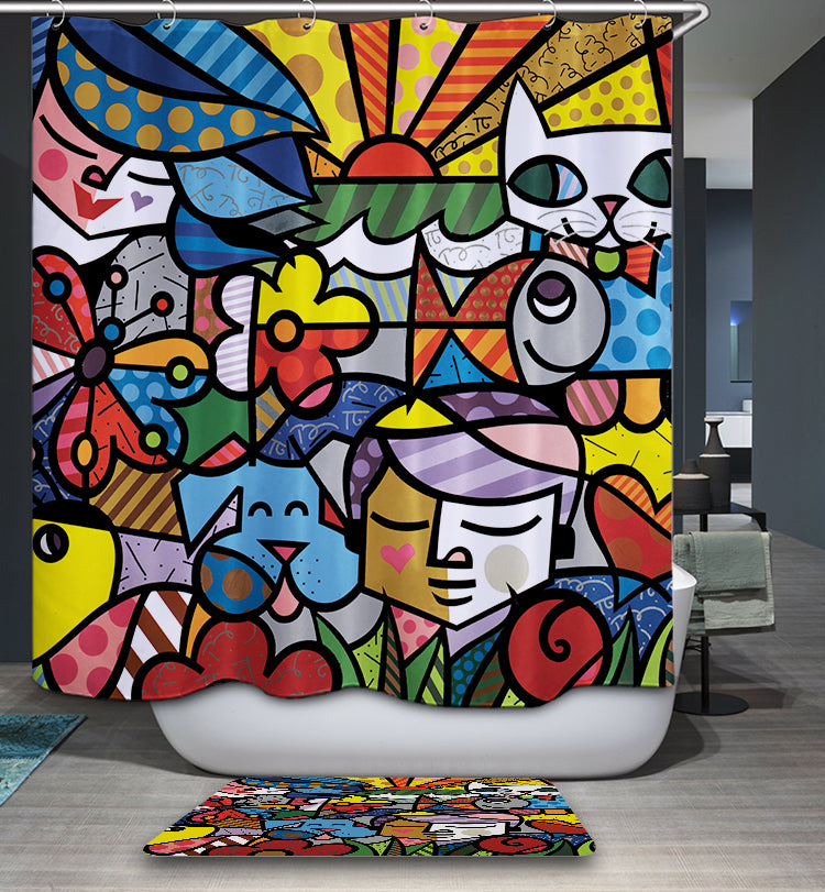 Kids Cat Garden Painting Romero Britto Shower Curtain