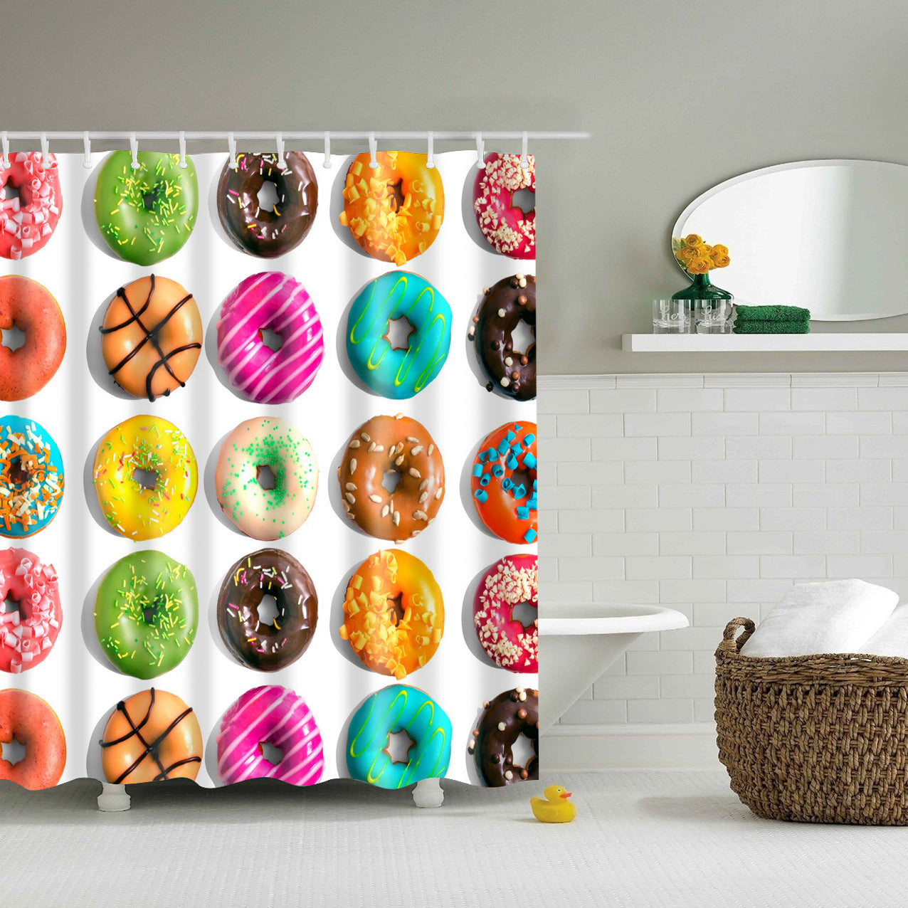 Kids Tasty Colorful Donut Shower Curtain | GoJeek
