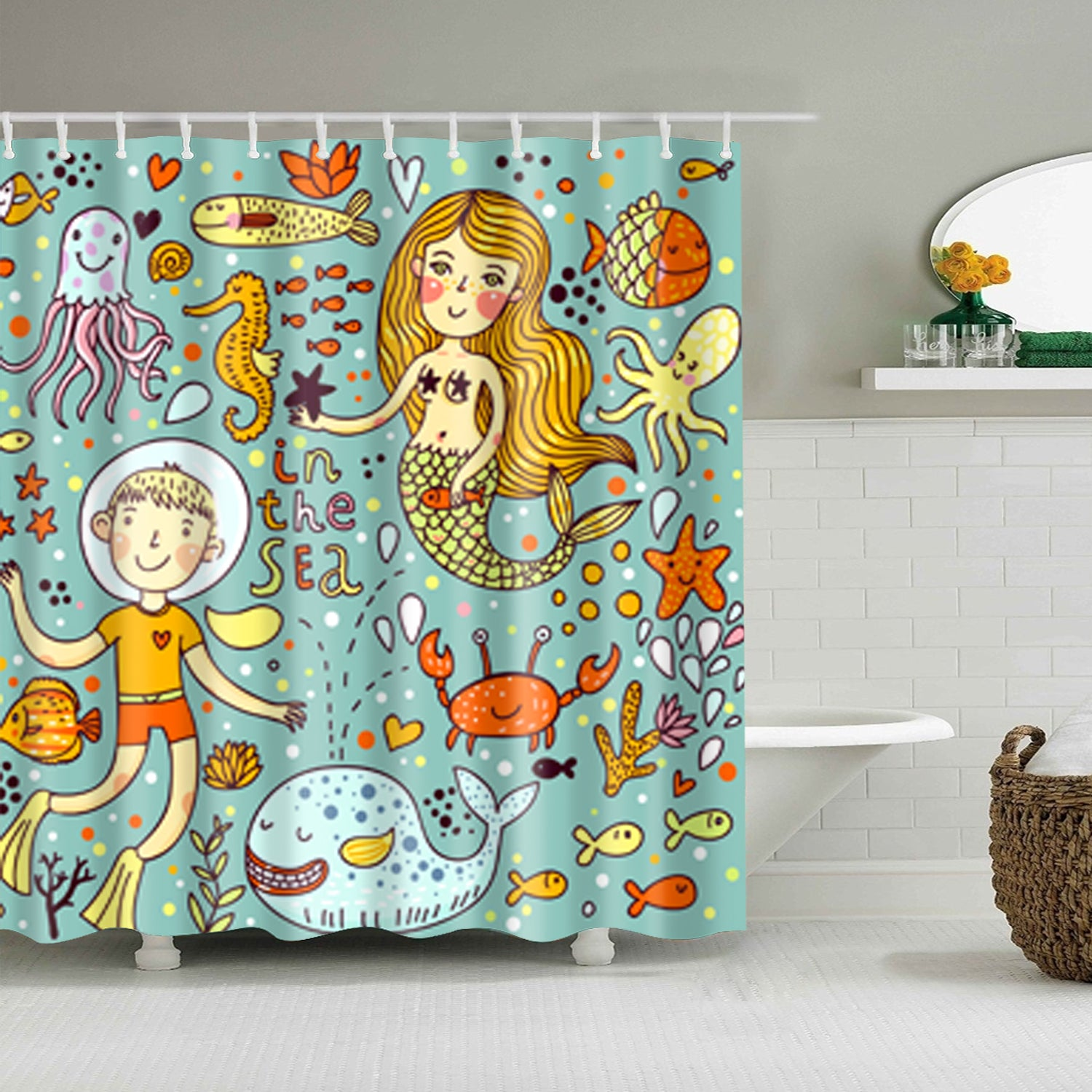 Kids Whimsical Cartoon Undersea Life Shower Curtain