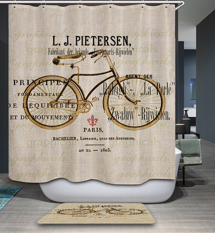 LJ Pietersen Paris Bicycle Shower Curtain