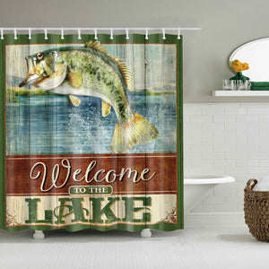 Lake Vacation Billboard Bass Fishing Themed Shower Curtain Outdoor Bathroom Decor