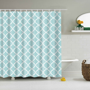 Lake Blue Geometric Knot Shower Curtain
