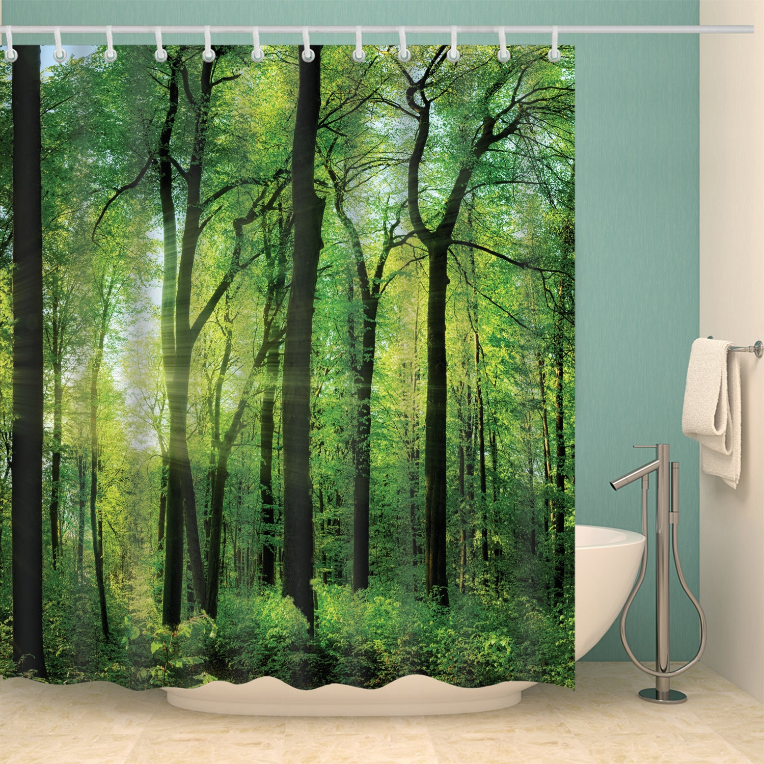 Lapse of the Sun Mossy Green Forest Landscape Shower Curtain