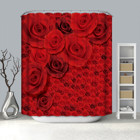 Large Beautiful Burgundy Roses Closeup Bouquet Rose Shower Curtain