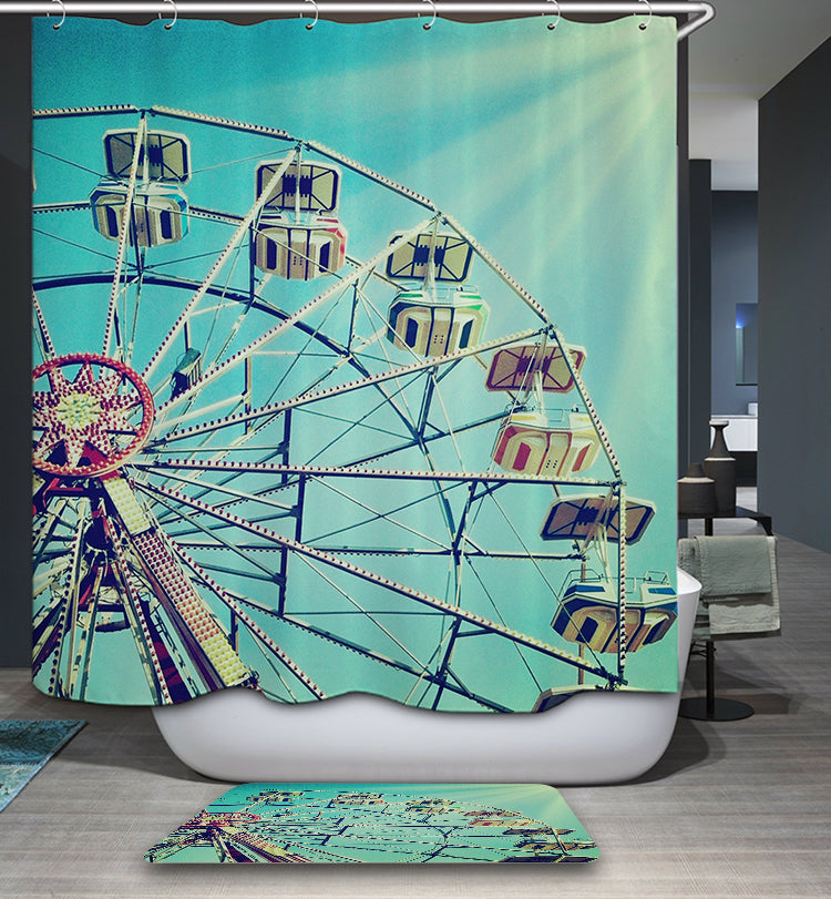 Lemon Green Ferris Wheel Shower Curtain