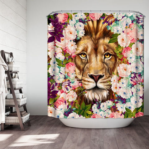 Leo Flower Lion Shower Curtain Elegant Constellation Themed