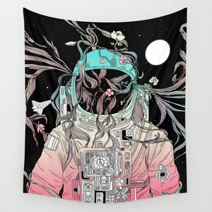 Life is Invading My Space Flower in Astronaut Tapestry