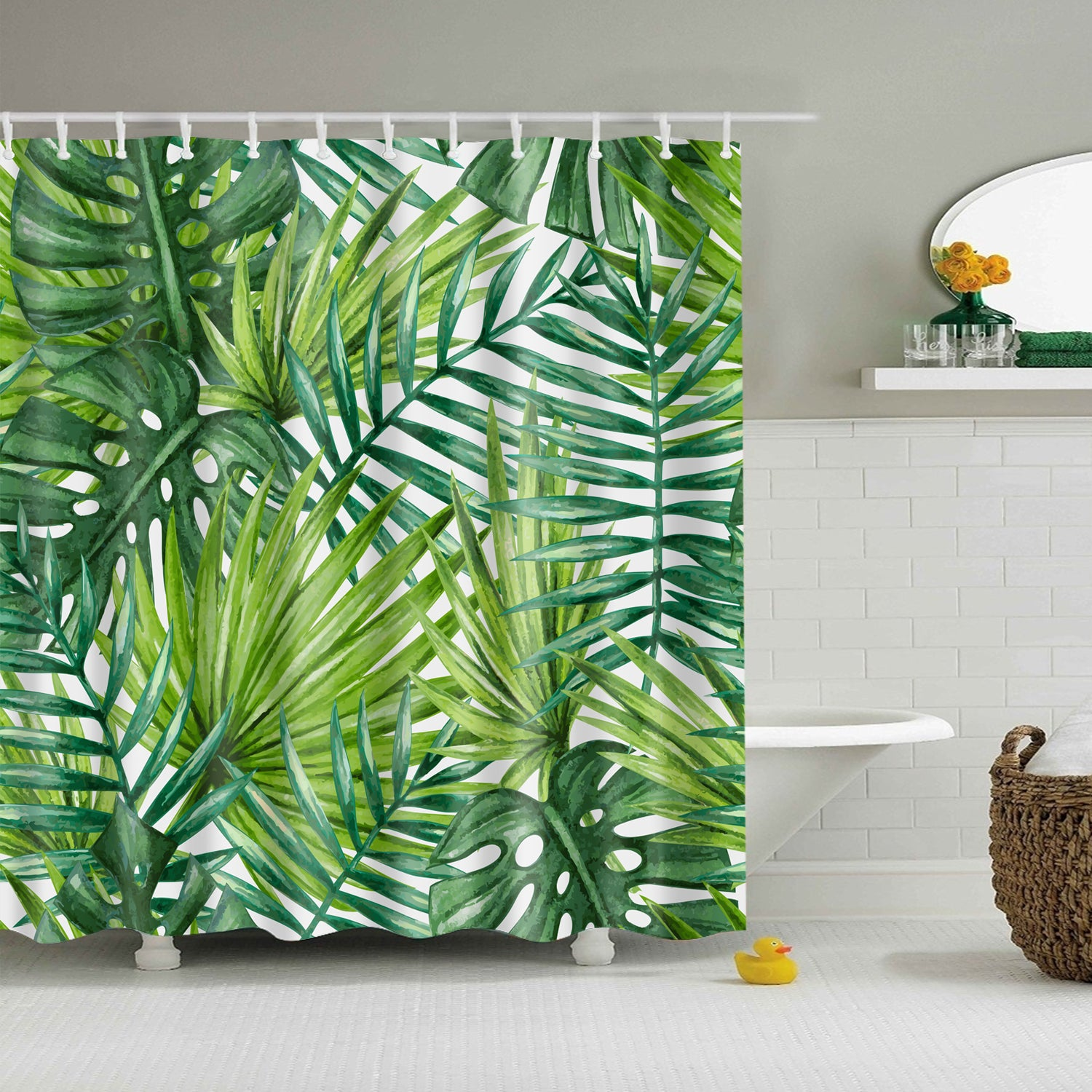 Light Green Decor Banana Leaf Shower Curtain