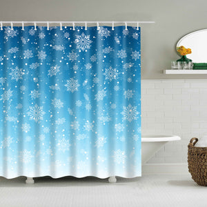 Light White Blue Snowflake Shower Curtain