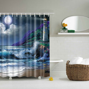 Lighthouse in The Moonlight Painting Shower Curtain | GoJeek