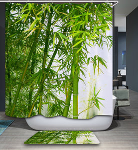 Lime Green Bamboo Fabric Shower Curtain