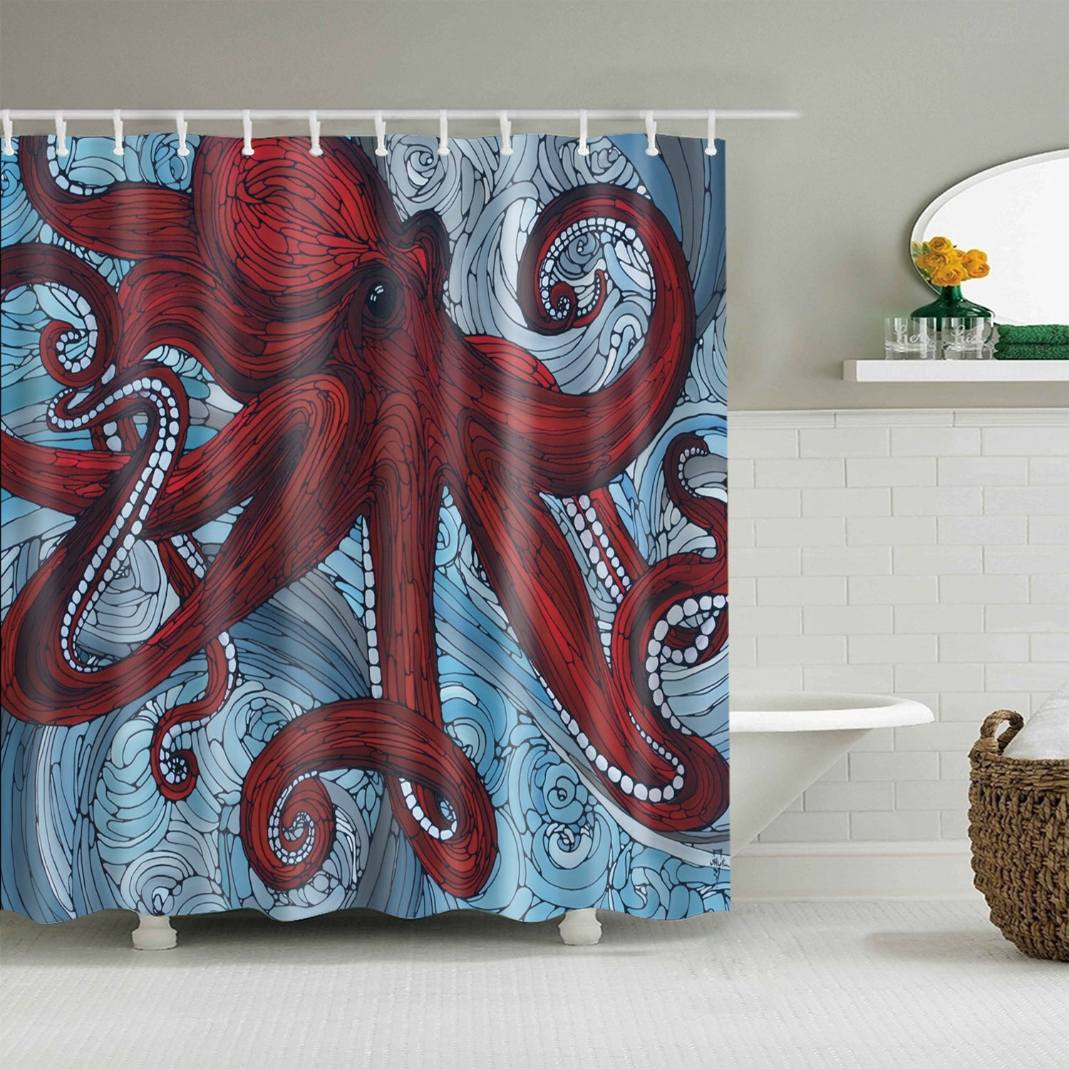 Line Drawing Art Colossal Red Octopus Shower Curtain