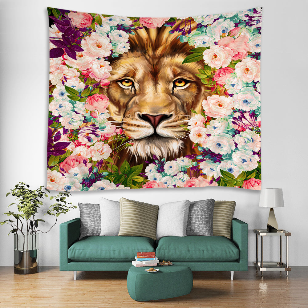 Lion King Face in Floral Drawing Tapestry