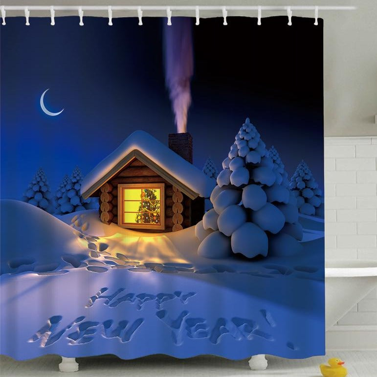 Little House at Night Merry Christmas Shower Curtain