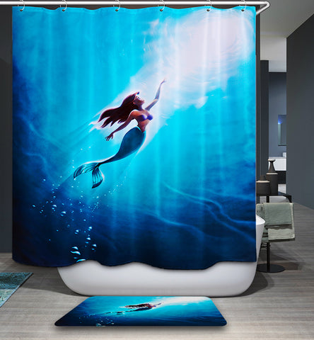 The Little Mermaid Anime Movie Poster Shower Curtain