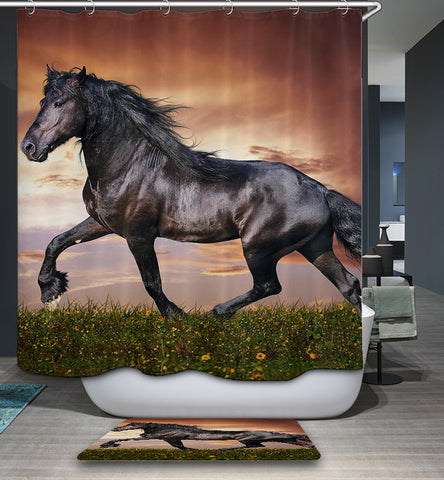 Live Black Friesian Horse Shower Curtain